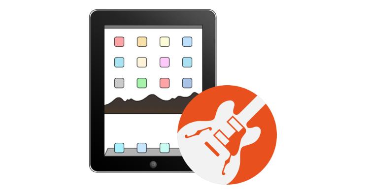 GarageBand logo over iPad