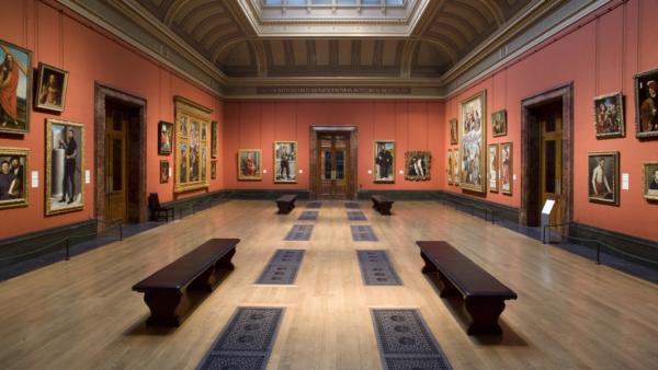 Inside a gallery